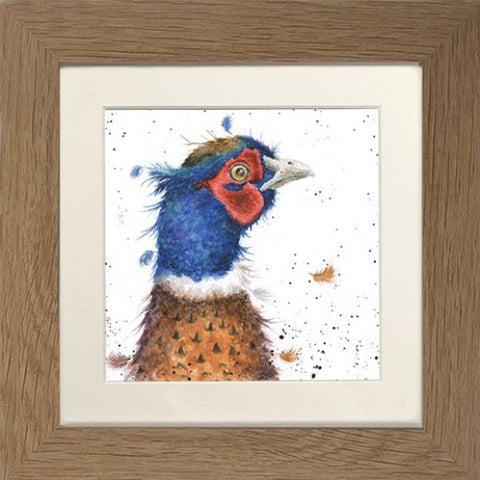 Wrendale Pheasant Picture Country Colours Oak Framed Card