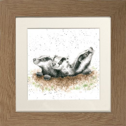 Wrendale Badger Picture The First Adventure Oak Framed Card