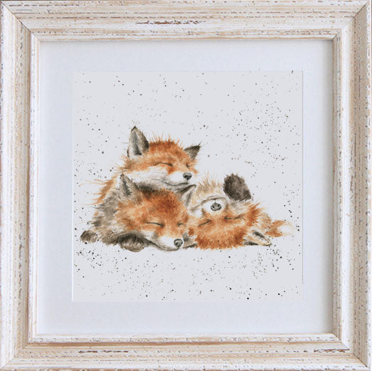Wrendale Fox Picture Afternoon Nap White Framed Card