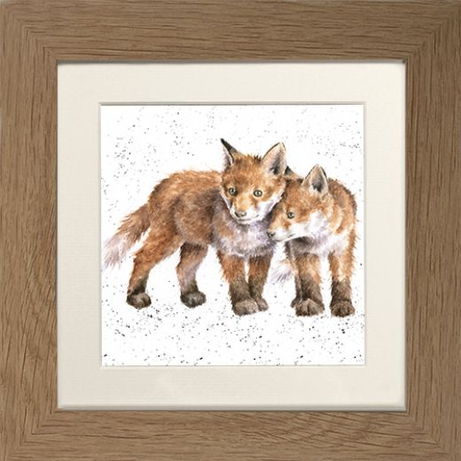 Wrendale Fox Picture Sibling Love Oak Framed Card