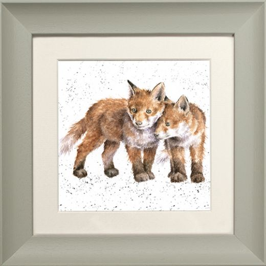 Wrendale Fox Picture Sibling Love Sage Framed Card