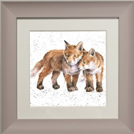 Wrendale Fox Picture Sibling Love Taupe Framed Card