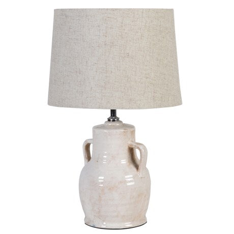 Small Urn Lamp With Biege Shade