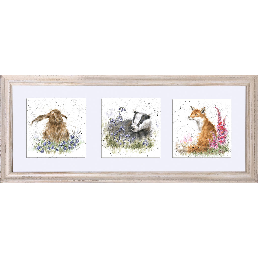 Wrendale Badger, Fox, Hare Picture Trio of Woodland Flora & Fauna