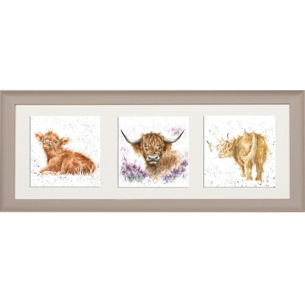 Wrendale Highland Cow Picture Trio of Highland Cows Taupe