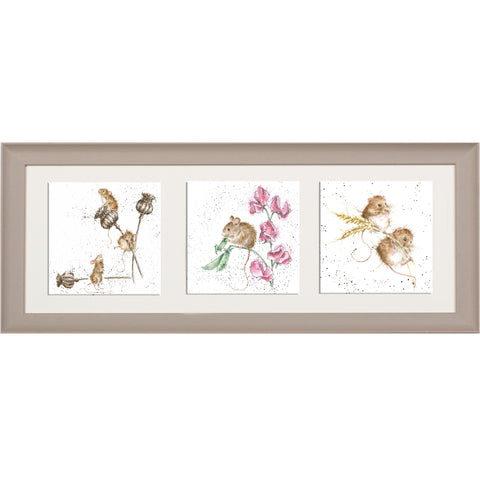 Wrendale Mice Picture Trio Of Country Mice Taupe