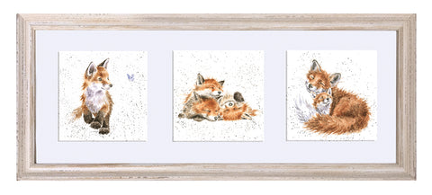 Wrendale Fox Picture Trio of Fox Cubs White Frame