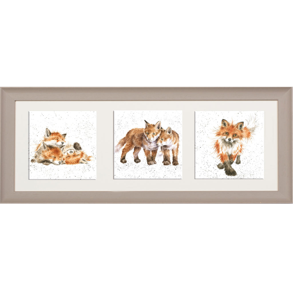 Wrendale Fox Picture Trio of Fox Cubs Taupe