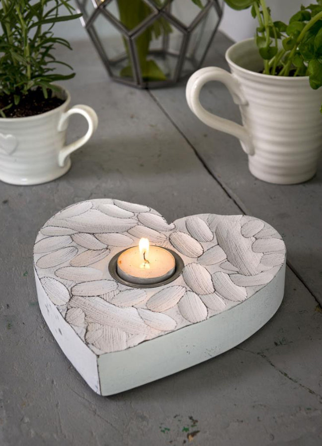 White Fingerprint Heart Tea Light Holder