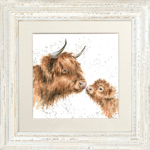 Wrendale Gentle One Highland Cow Framed Mounted Print