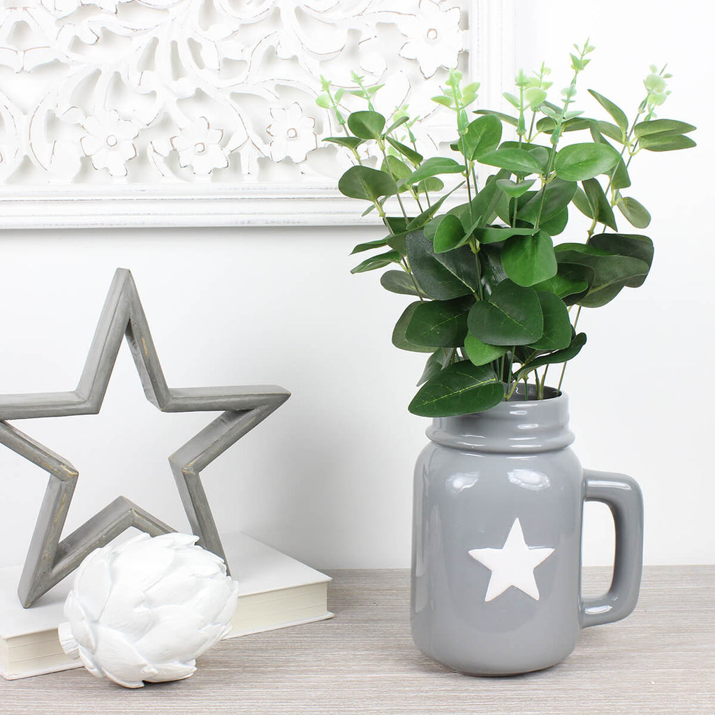 Grey Ceramic Jug with White Star