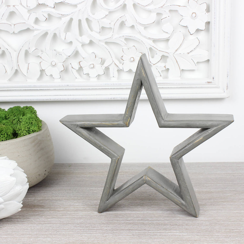 Medium Grey Mango Wood Star