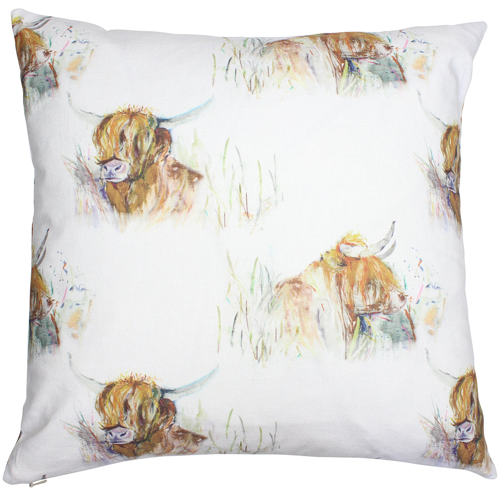 Highland Cow Country Animal Cushion Cover