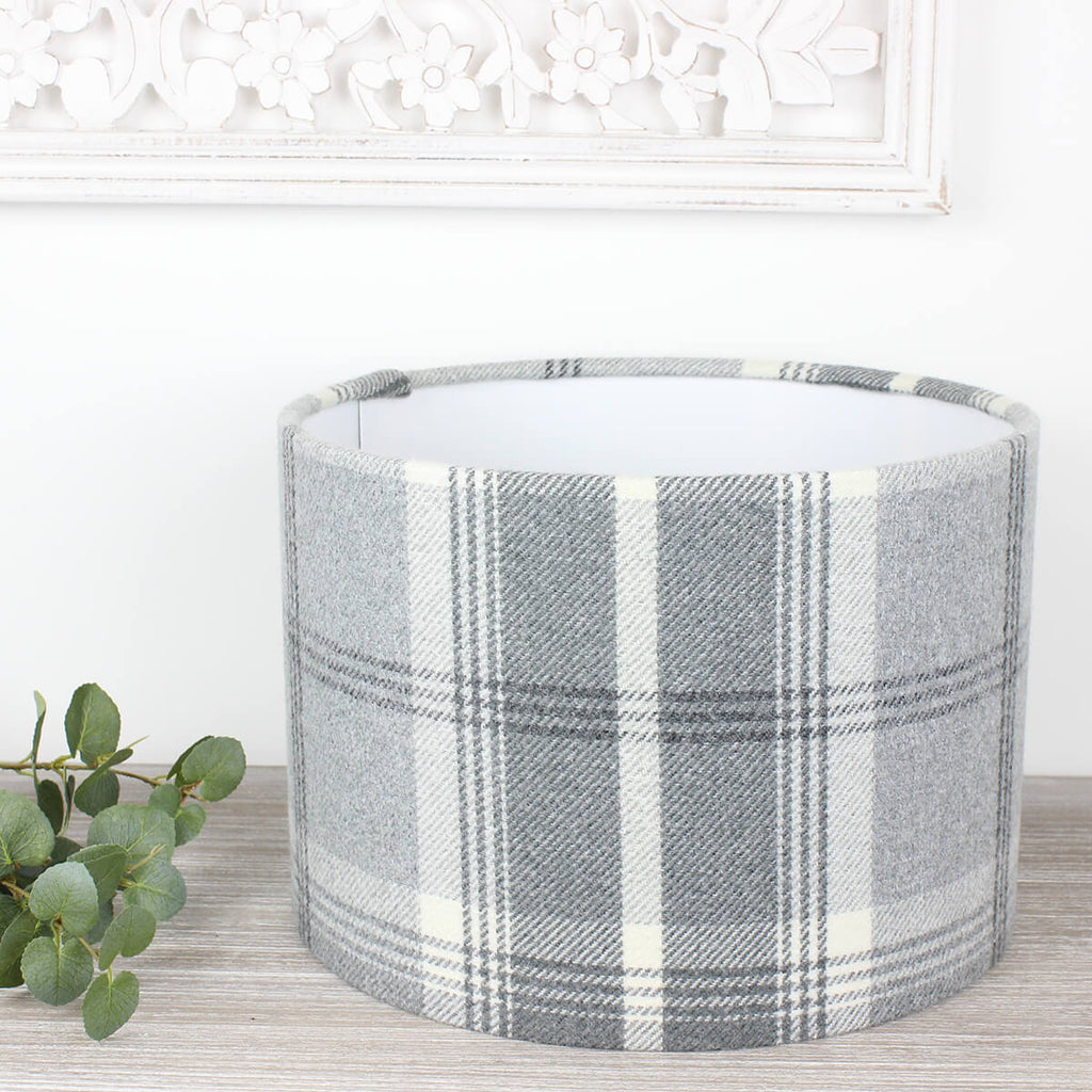 Dove Grey Balmoral Check Drum Lampshade