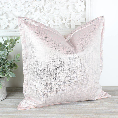Baby Pink Silver Adelphi Velvet Oxford Cushion