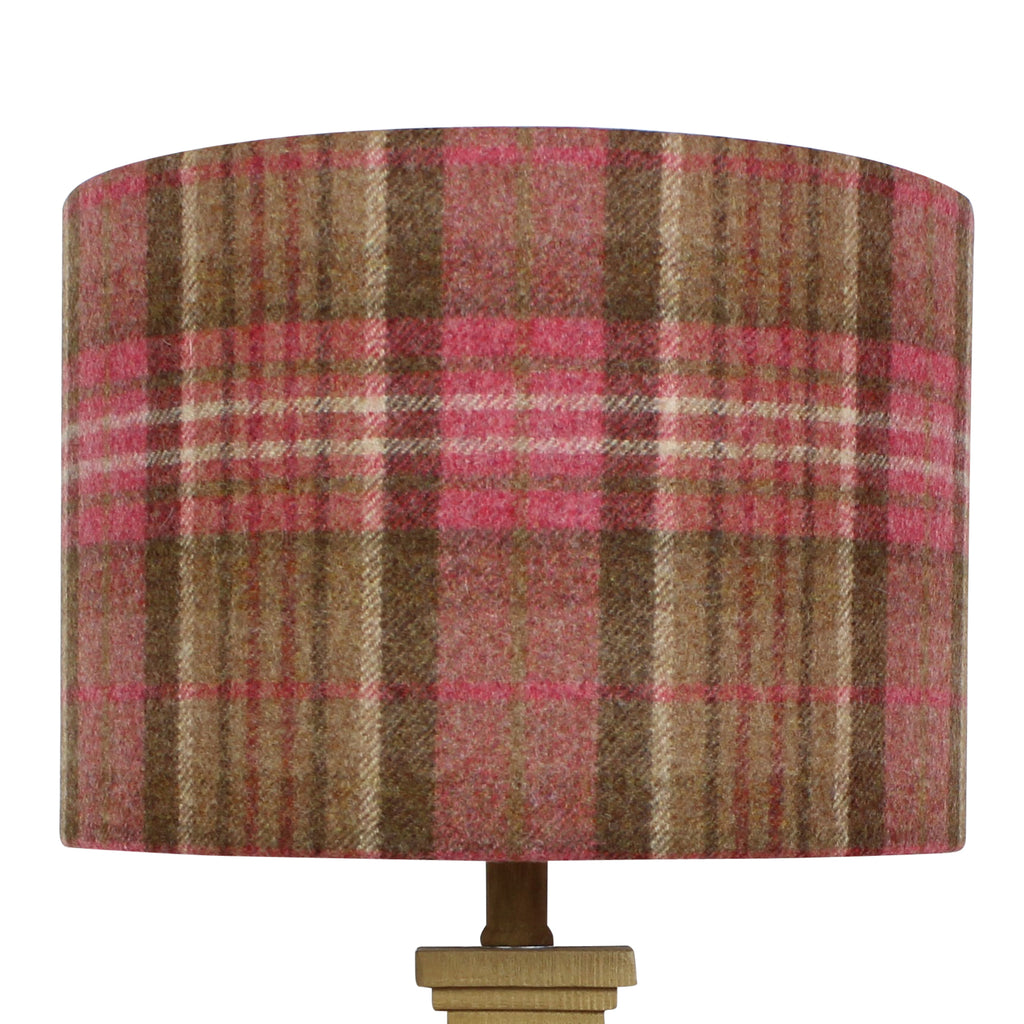 Sandringham Geranium Wool Checked Drum Lampshade
