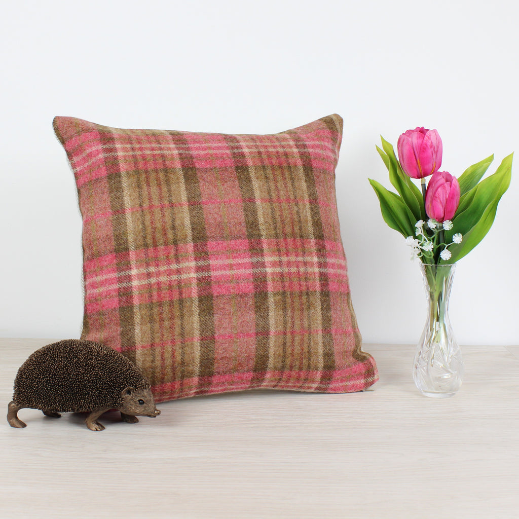Sandringham Geranium Tweed Wool Cushion
