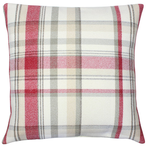 Cranberry Elgin Checked Cushion Cover