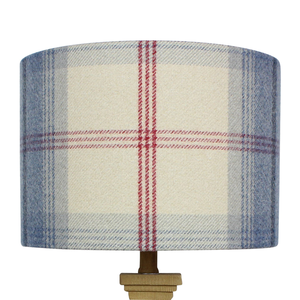 Royal Blue Cream Balmoral Check Drum Lampshade
