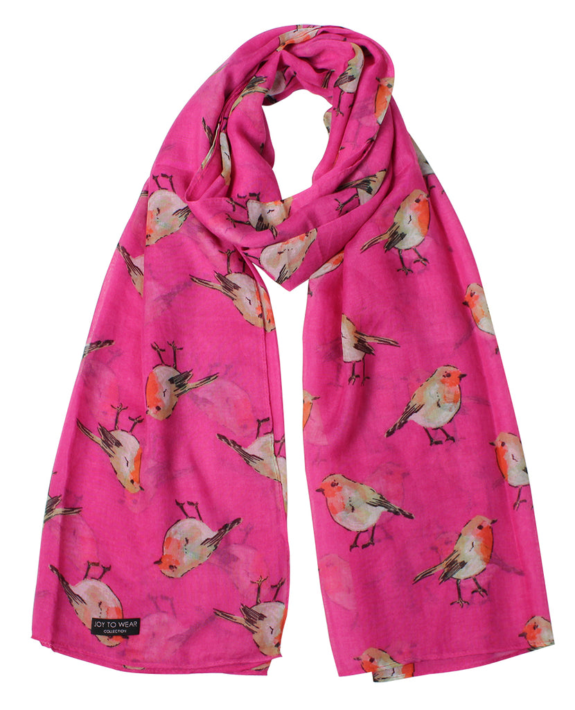Pink Watercolour Robin Print Fashion Scarf
