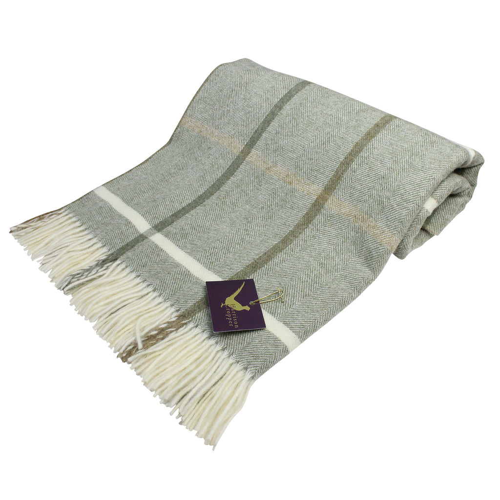 Windowpane Sage Pure New Wool Throw
