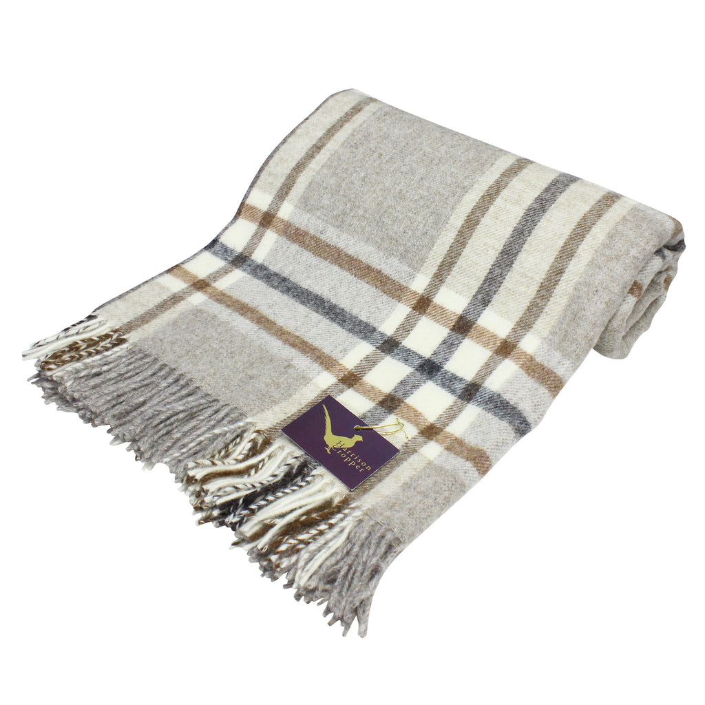 Arncliffe Beige Pure New Wool Throw