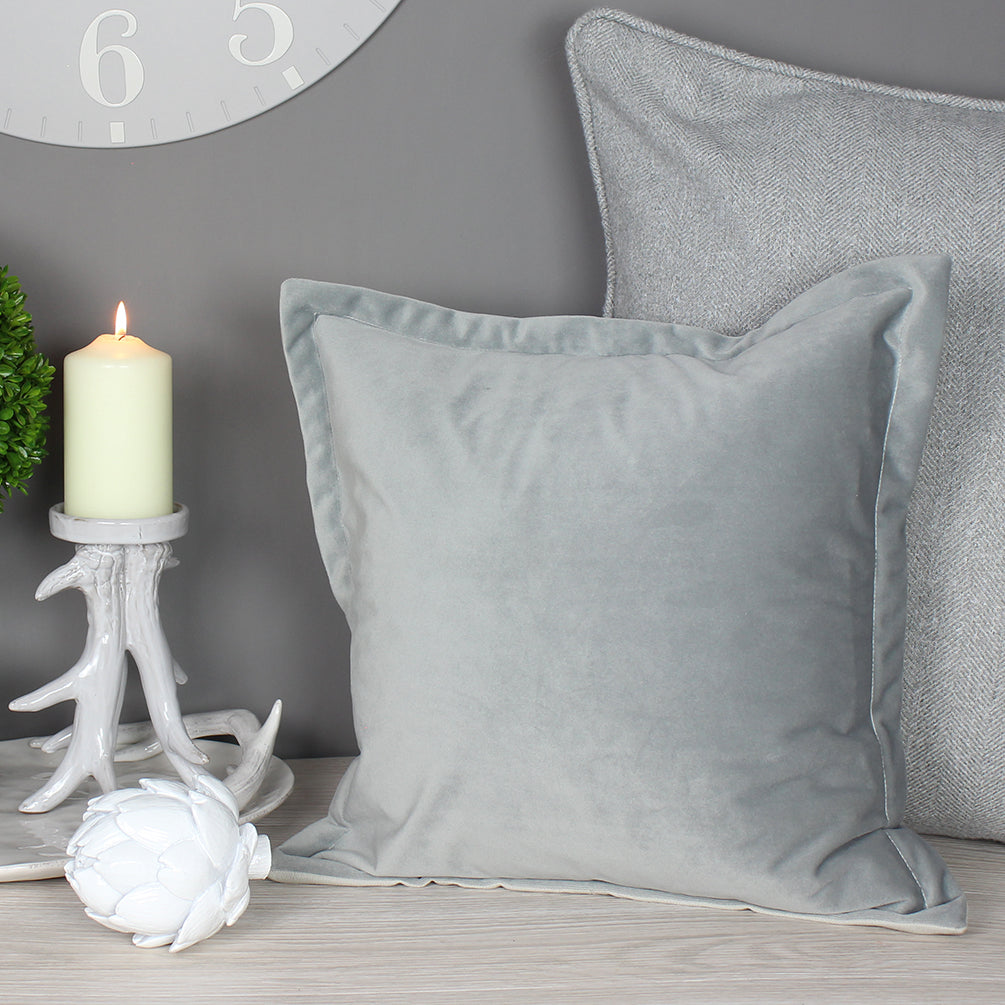 Grey Velvet Oxford Cushion