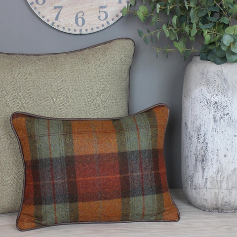 Skye Burnt Orange Rectangle Cushion with Faux Leather Piping
