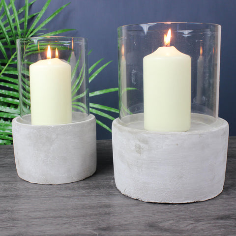 Large Glass and Cement Candleholder