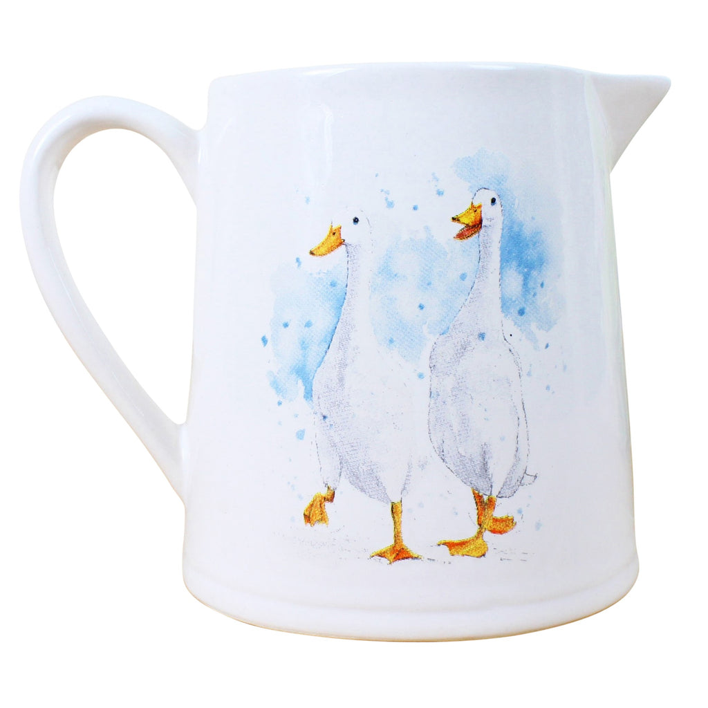 Running Ducks White Milk Jug
