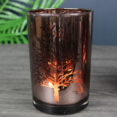 Metallic Rose Gold Trees Candleholder