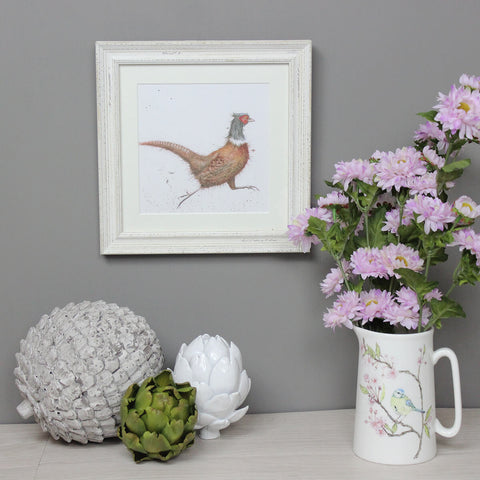 Wrendale Pheasant Picture Game Bird White Framed Card
