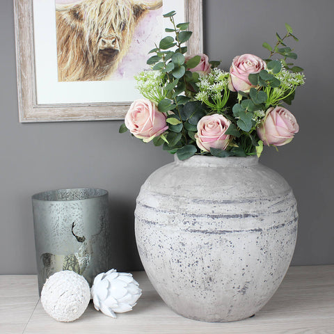 Distressed Stone Vase - Pre-Order for Mid August Delivery