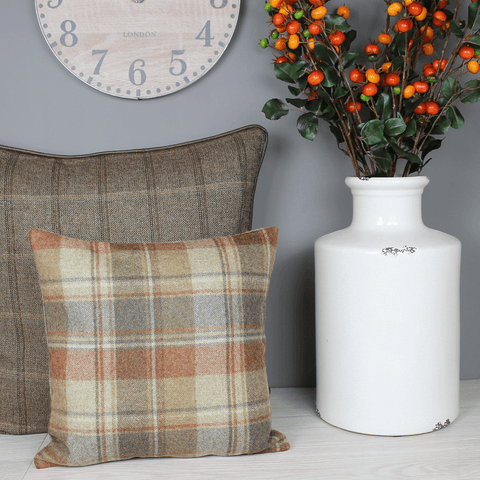Snowshill Red Earth Tweed Wool Cushion