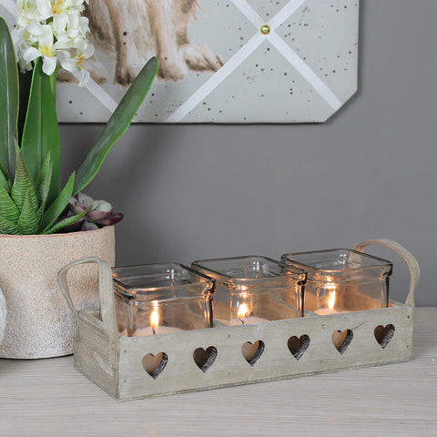 Wooden Hearts Design Tea Light Holder