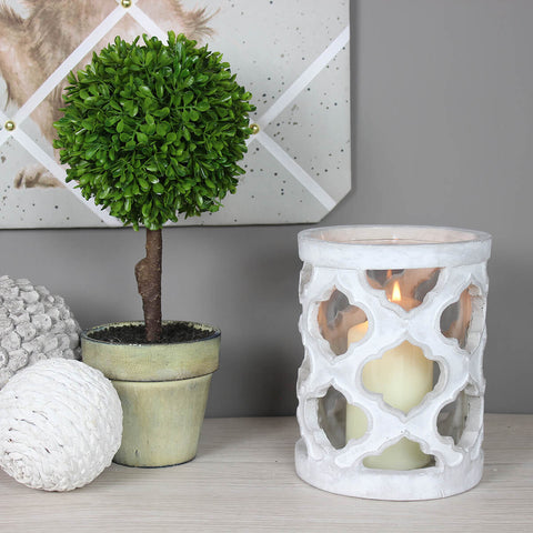 Small Stone Effect Patterned Candle Holder