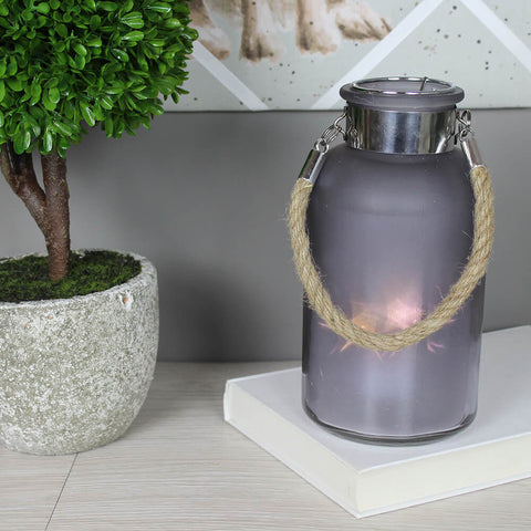 Medium Frosted Grey Glass Jar with Rope Detail and LED Lights