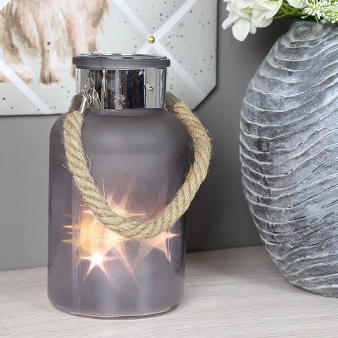 Large Frosted Glass Jar with Rope Detail and Interior LED Lights