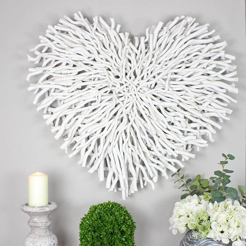 Large White Wood Chunky Twig Wicker Heart