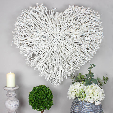 Double Layer White Rustic Twig Wicker Heart