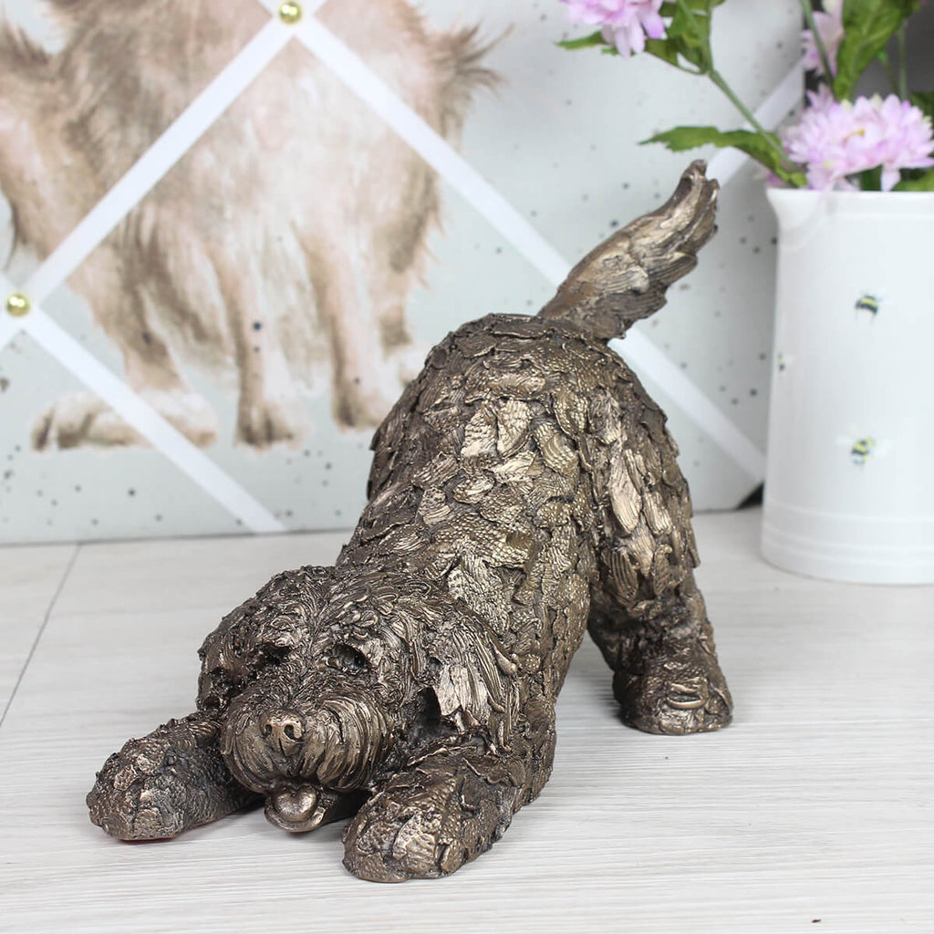 Barney Playing Cockapoo Frith Bronze Sculpture