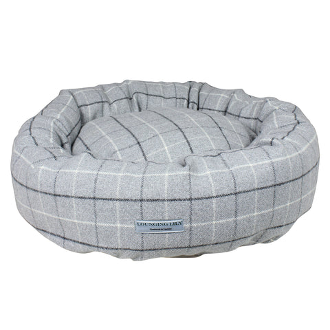 Grey Checked Donut Dog Bed