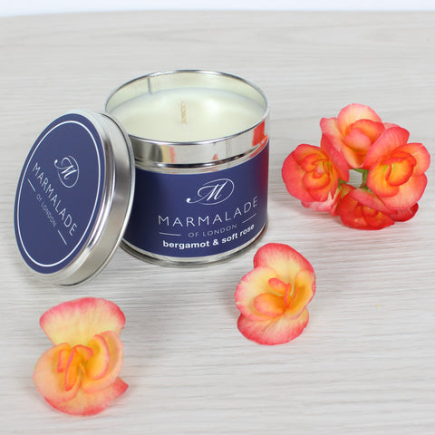 Bergamot & Soft Rose Medium Tin Candle