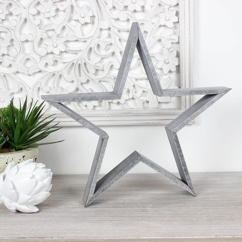 Medium Grey Wooden Star