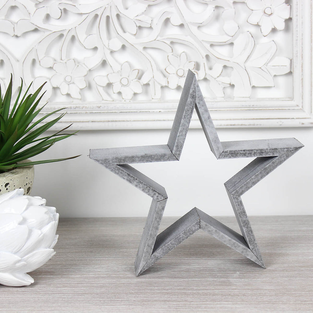 Small Grey Wooden Star