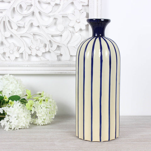 Medium Blue and Cream Striped Bottle Vase