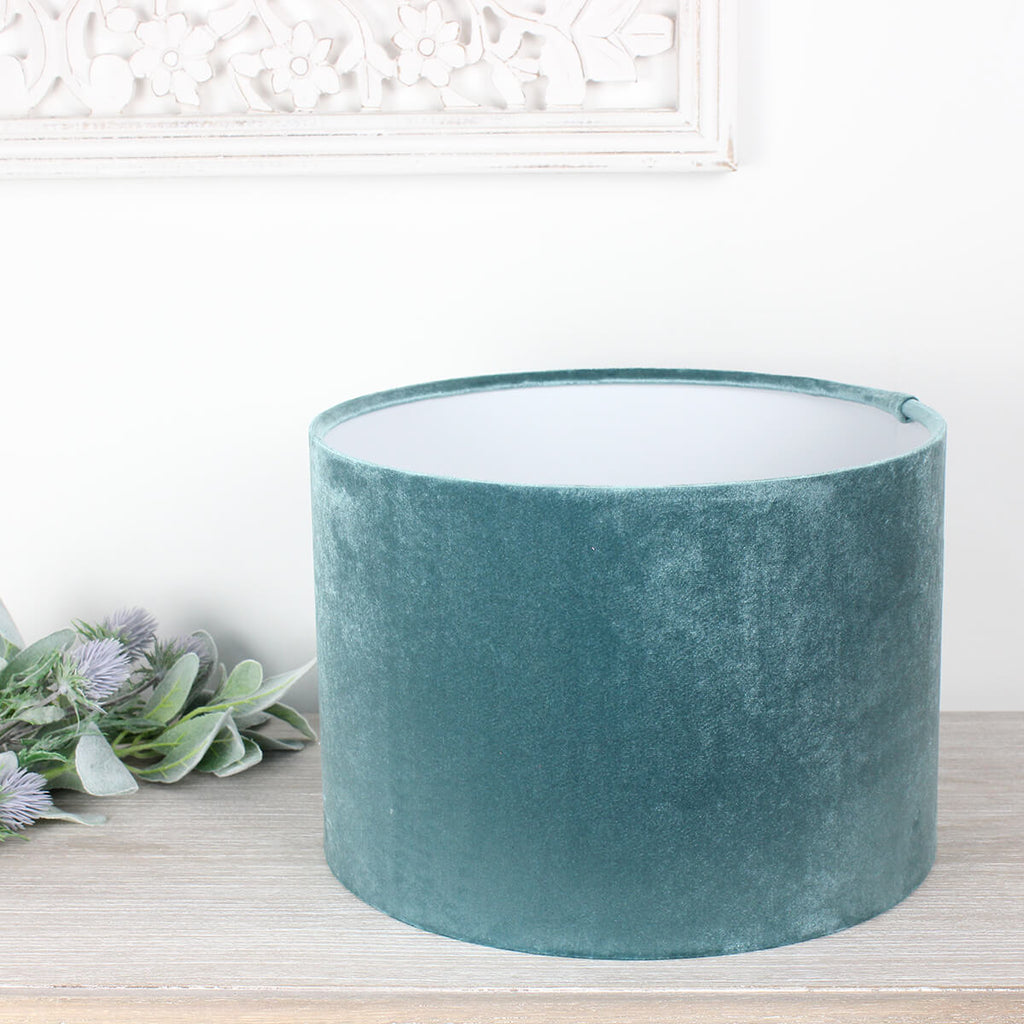 Glamour Duck Egg Velvet Drum Lampshade
