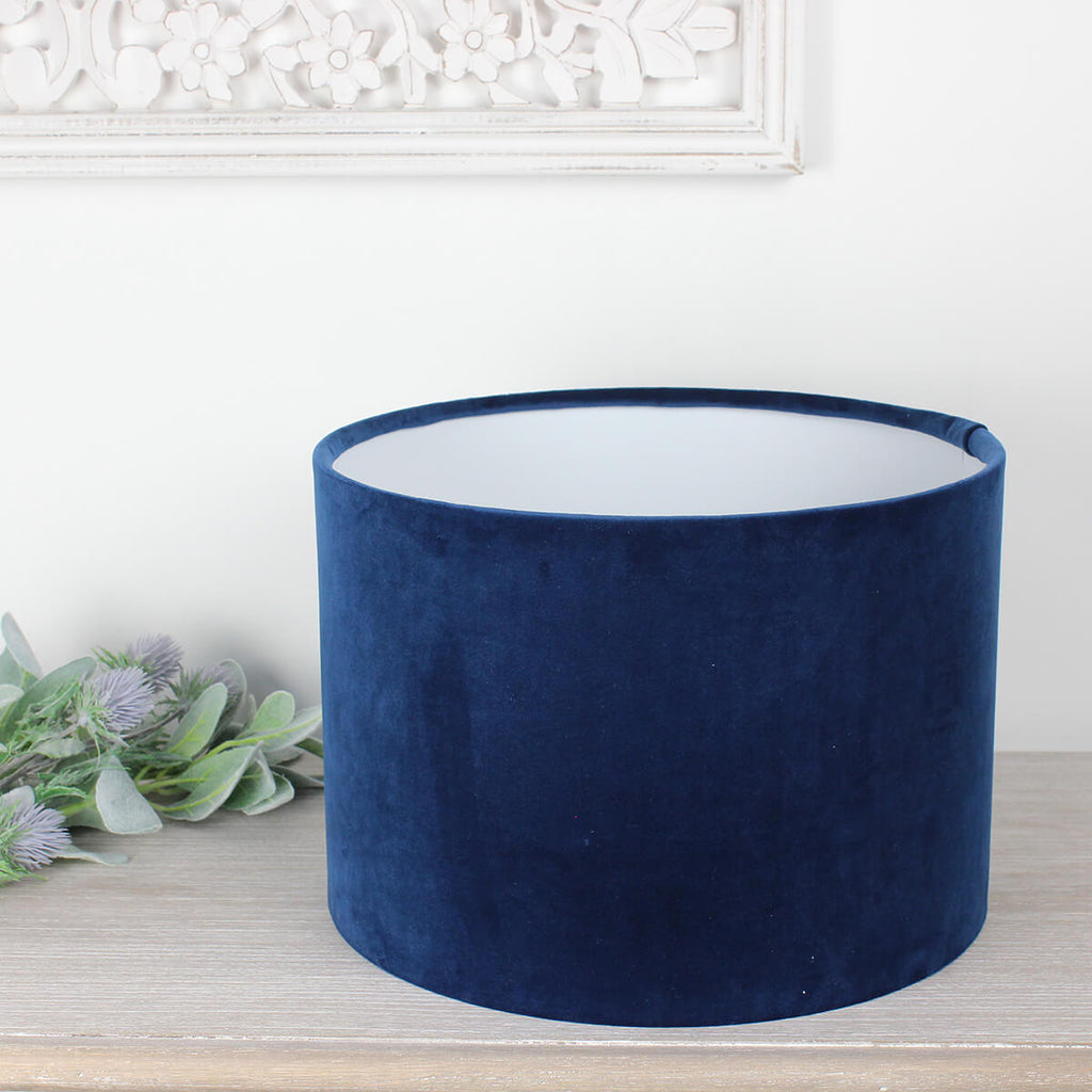 London Navy Velvet Drum Lampshade