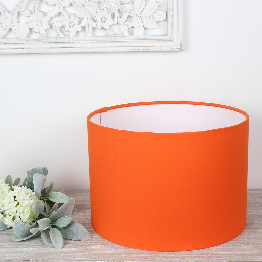 Bright Orange Drum Lampshade