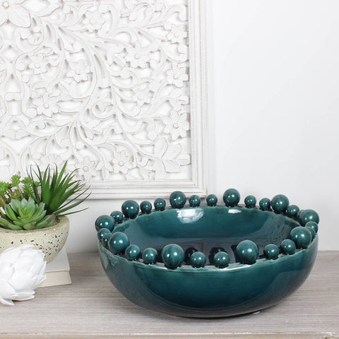 Teal Bowl with Balls on Rim